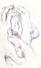 real drawing, hand and feet