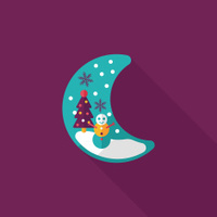 Christmas eve flat icon with long shadow,eps10
