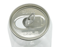 Metal top of a plastic can
