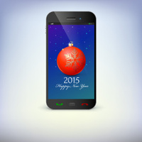 Front view of christmas phone isolated. New Year symbols.