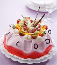 pink fruits cake