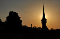 Silhouette of a church in the sunset