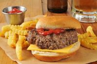 Cheeseburger, fries and beer
