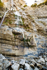 view of waterfall uchan-su in Crimean mountains