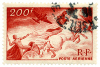 Flying Chariot French Air Mail Stamp