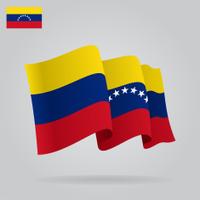 Flat and waving Venezuelan Flag.