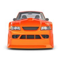 Orange Cartoon Muscle Car on white Background