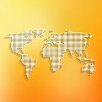 World map white made of dots on orange background