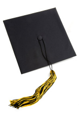 Black mortar board graduation cap