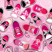 Seamless pattern - children gumshoes on pink background, for gir