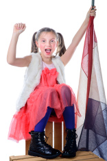 pretty little girl with a french flag