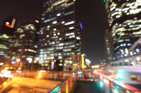 Bangkok cityscape at night time, Blurred Photo bokeh.