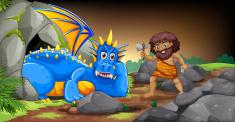 Caveman and dragon