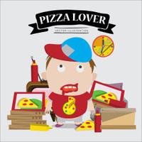 pizza lover boy. character - vector illustration
