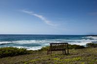 bench on coastal headland