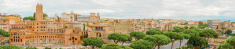 Panoramic view at Imperial Fora in Rome, Italy