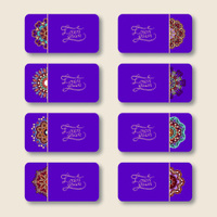 collection of ornamental floral violet colour business cards