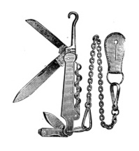 Antique illustration of swiss knife