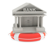3d concrete Bank Building with Lifebuoy