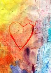 watercolor retro heart