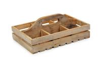 Wooden plant pot carrier.
