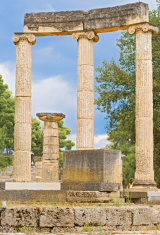 Ruin of Philipp's Temple in Olympia, Greece