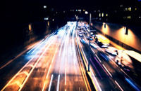 Light trails of evening highway,Night time traffic on highway