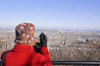Tourist on Mount Royal in Montreal Quebec
