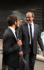 business partners walking in street of istanbul turkey