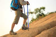 hiking legs on  mountain trail