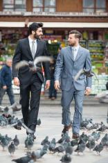 Turkish businessmen walking and talking