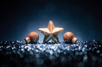 Christmas Star - Glitter Bokeh Photo Card Greetings