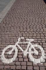Bike Symbol on Cobbled Stone