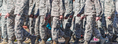 US Military personnel walking in formation