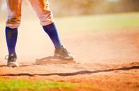 Baseball player on the base