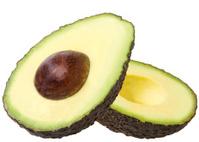 Avocados on a white background