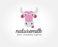 Abstract Vector Cartoon Cow Head Logo Icon Logotype Tem