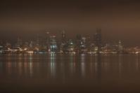 Seattle Skyline on a Foggy Night