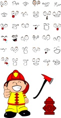 firefighter kid cartoon set