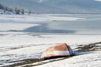 boat near the lake in winter