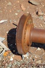 Close up of a gear at a salvage yard