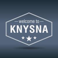 welcome to Knysna hexagonal white vintage label