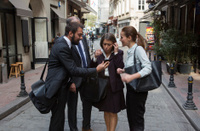 business people checking agenda on phone in istanbul turkey
