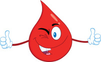 Winking Blood Drop Holding A Thumb Ups