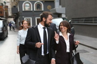 business partners going to meeting together in istanbul turkey