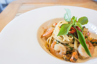 Spicy spaghetti seafood in white dish