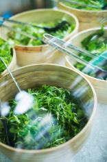 bowls of salad keaves