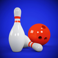 Two skittles and bowling ball on blue
