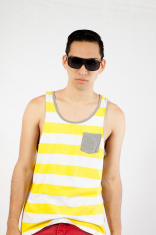 Hispanic man in stripped shirt and sunglasses