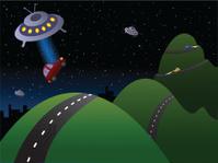 Ufo adopting a red car in the night